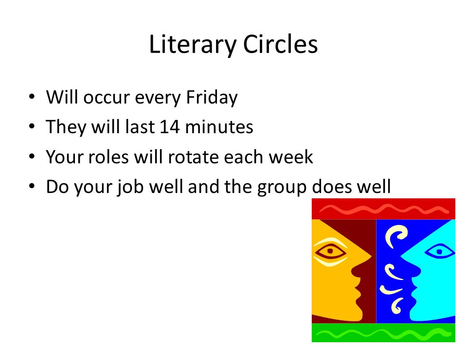 Literary Circles Will occur every Friday They will last 14 minutes Your roles will rotate each week Do your job well and the group does well
