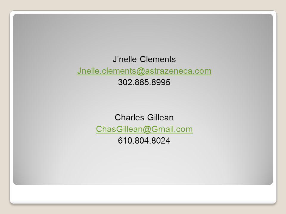 Jnelle Clements Jnelle.clements@astrazeneca.com 302.885.8995 Charles Gillean ChasGillean@Gmail.com 610.804.8024