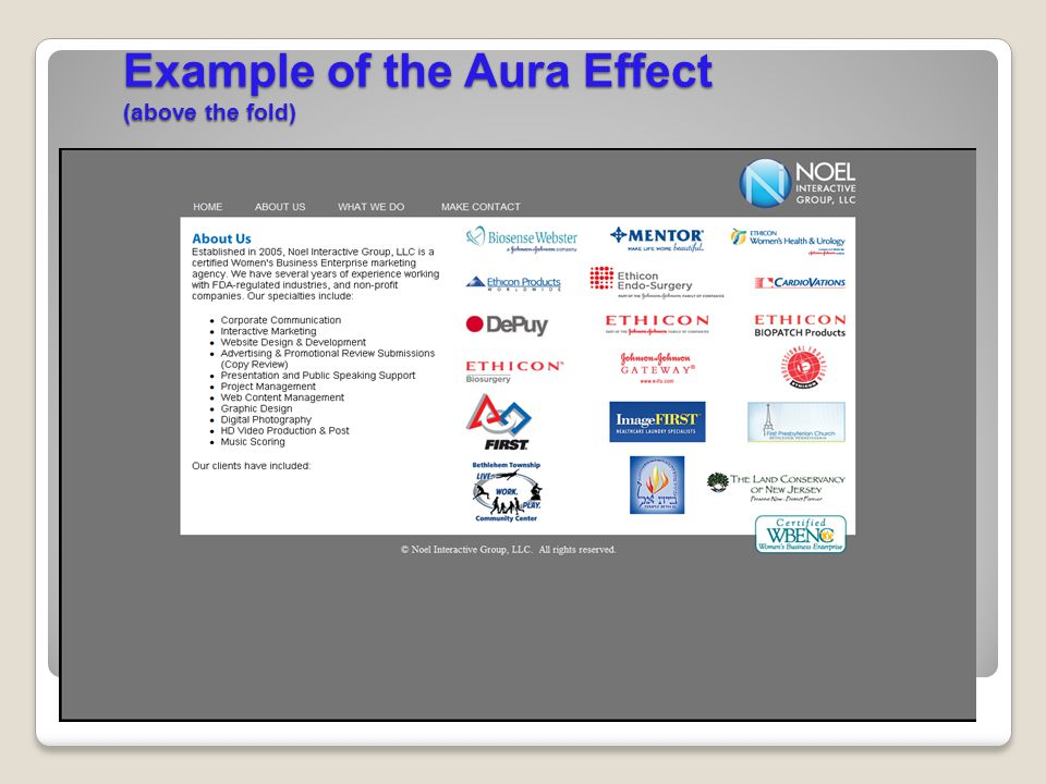 Example of the Aura Effect (above the fold)