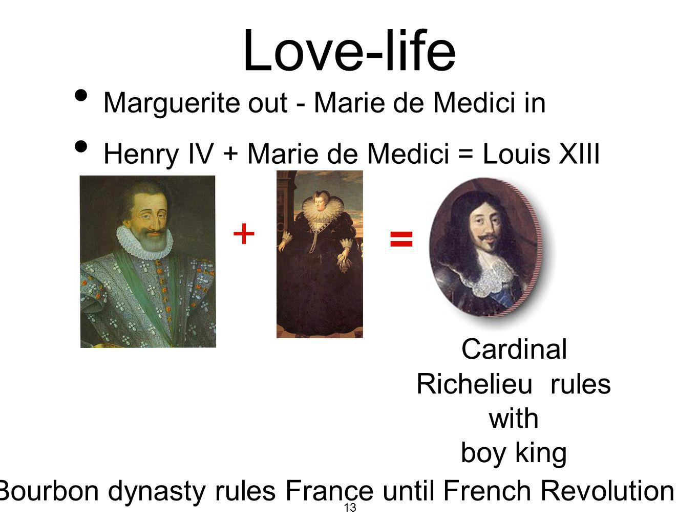13 Love-life Marguerite out - Marie de Medici in Henry IV + Marie de Medici = Louis XIII Bourbon dynasty rules France until French Revolution + = Cardinal Richelieu rules with boy king