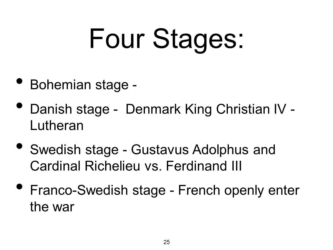 25 Four Stages: Bohemian stage - Danish stage - Denmark King Christian IV - Lutheran Swedish stage - Gustavus Adolphus and Cardinal Richelieu vs.