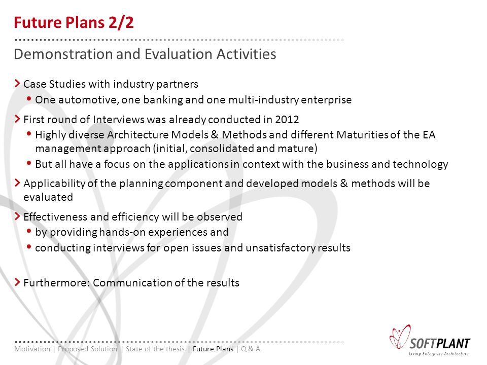 Case Studies with industry partners One automotive, one banking and one multi-industry enterprise First round of Interviews was already conducted in 2012 Highly diverse Architecture Models & Methods and different Maturities of the EA management approach (initial, consolidated and mature) But all have a focus on the applications in context with the business and technology Applicability of the planning component and developed models & methods will be evaluated Effectiveness and efficiency will be observed by providing hands-on experiences and conducting interviews for open issues and unsatisfactory results Furthermore: Communication of the results Demonstration and Evaluation Activities Future Plans 2/2 Motivation | Proposed Solution | State of the thesis | Future Plans | Q & A