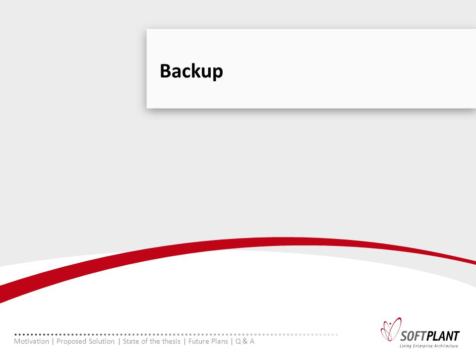 Backup Motivation | Proposed Solution | State of the thesis | Future Plans | Q & A
