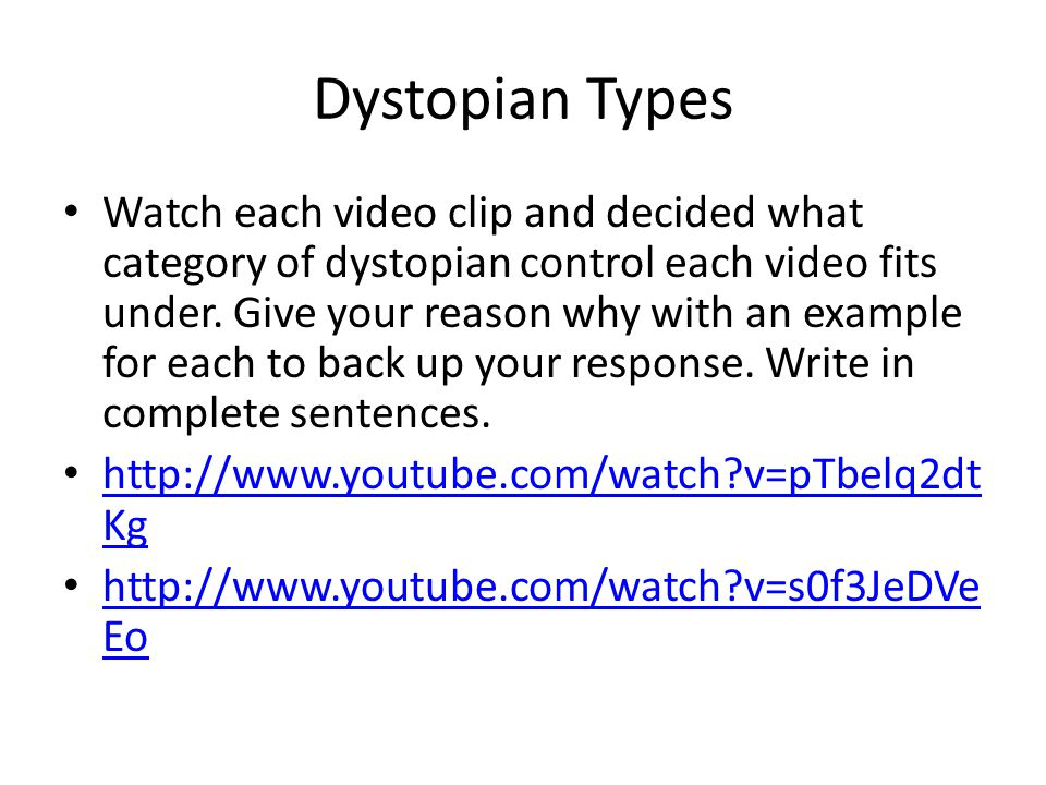 Dystopian Types Watch each video clip and decided what category of dystopian control each video fits under. Give your reason why with an example for e