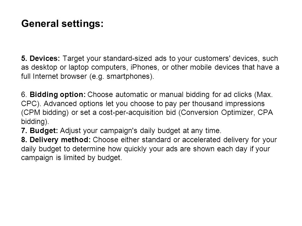 General settings: 5.