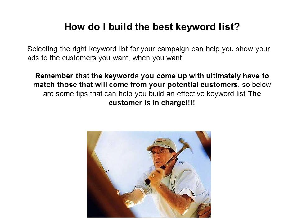 How do I build the best keyword list.