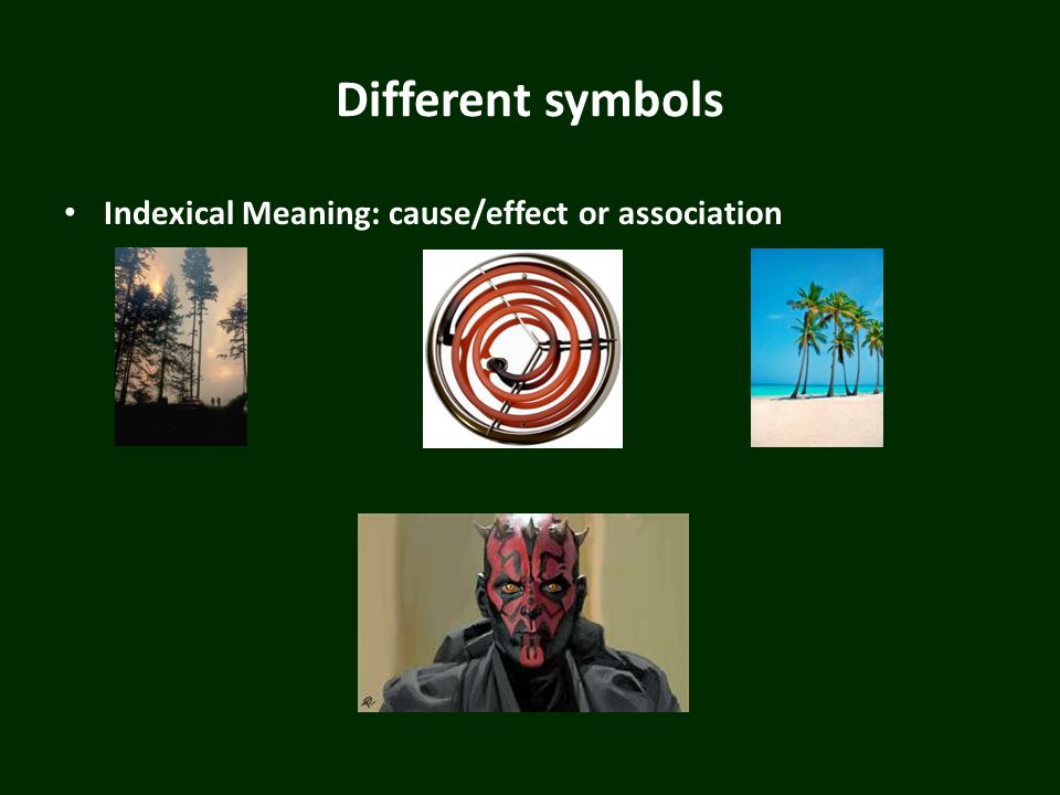 Different symbols Indexical Meaning: cause/effect or association
