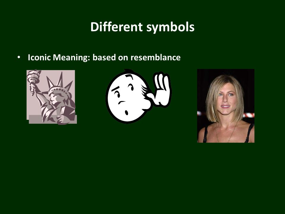 Different symbols Iconic Meaning: based on resemblance