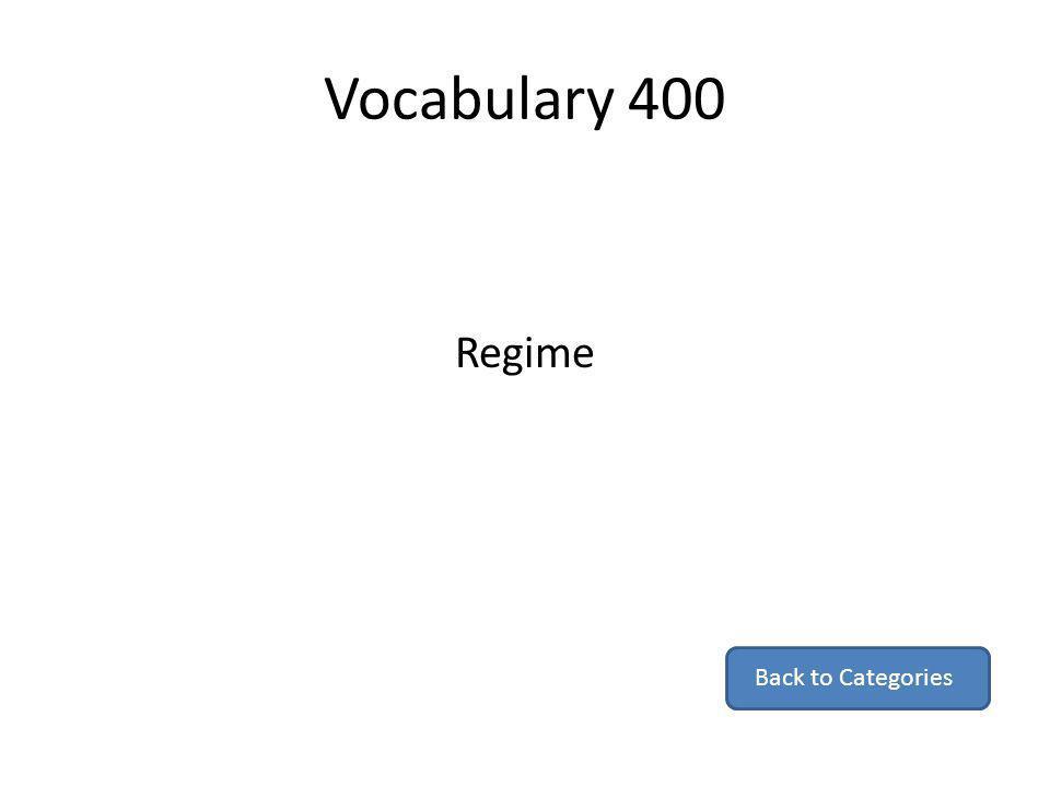 Vocabulary 400 Regime Back to Categories