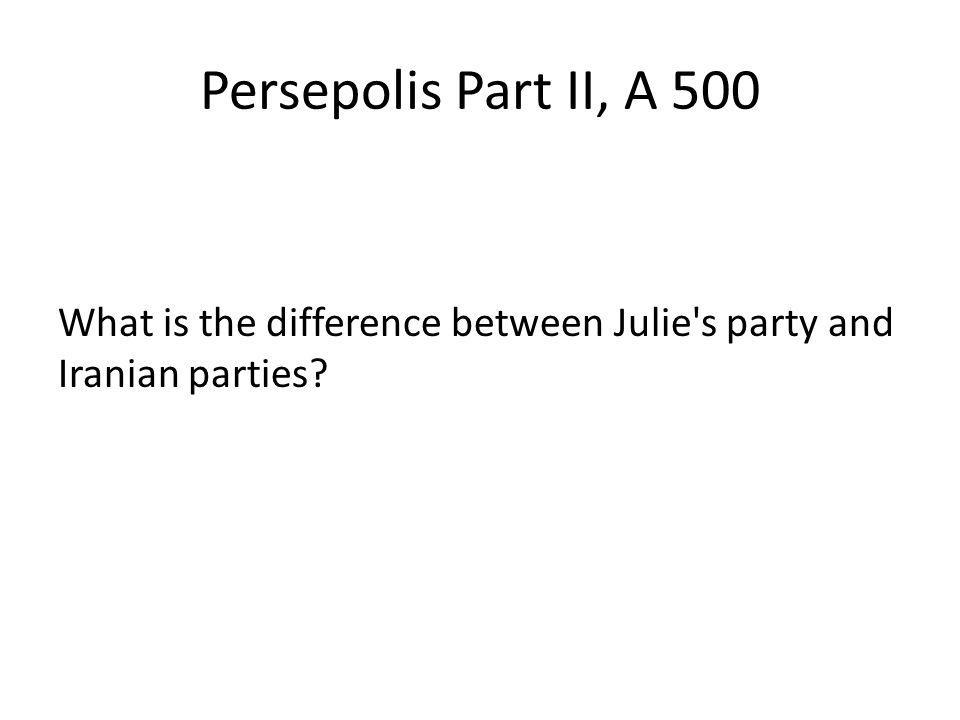 Persepolis Part II, A 500 What is the difference between Julie's party and Iranian parties?