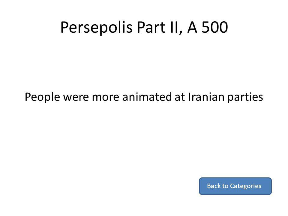 Persepolis Part II, A 500 People were more animated at Iranian parties Back to Categories