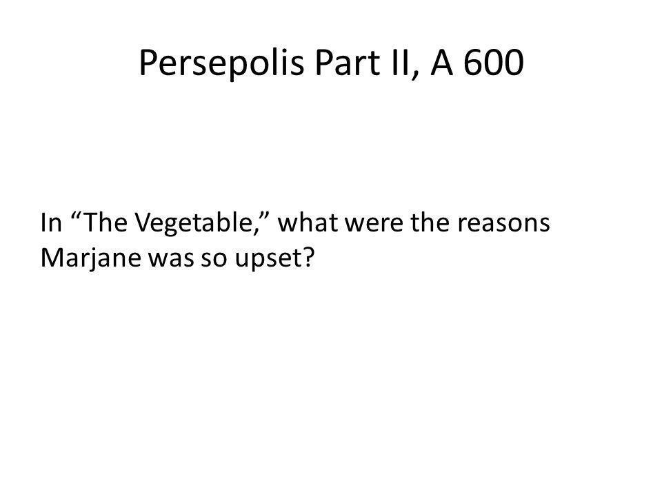 Persepolis Part II, A 600 In The Vegetable, what were the reasons Marjane was so upset?
