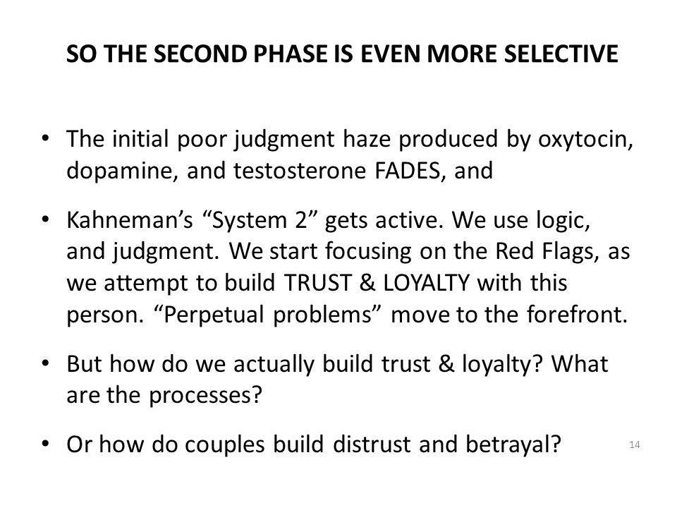 SO THE SECOND PHASE IS EVEN MORE SELECTIVE The initial poor judgment haze produced by oxytocin, dopamine, and testosterone FADES, and Kahnemans System