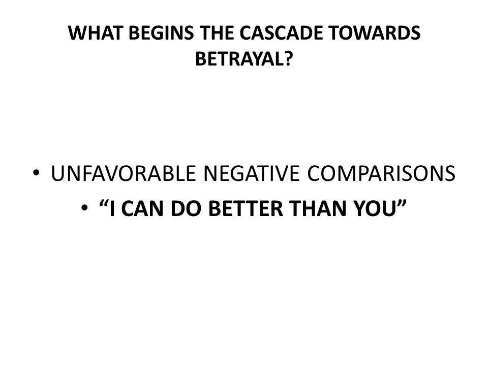 WHAT BEGINS THE CASCADE TOWARDS BETRAYAL? UNFAVORABLE NEGATIVE COMPARISONS I CAN DO BETTER THAN YOU