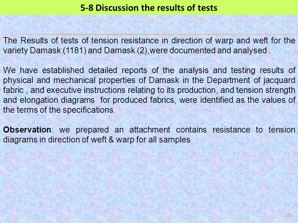 25 5-8 Discussion the results of tests The Results of tests of tension resistance in direction of warp and weft for the variety Damask (1181) and Dama