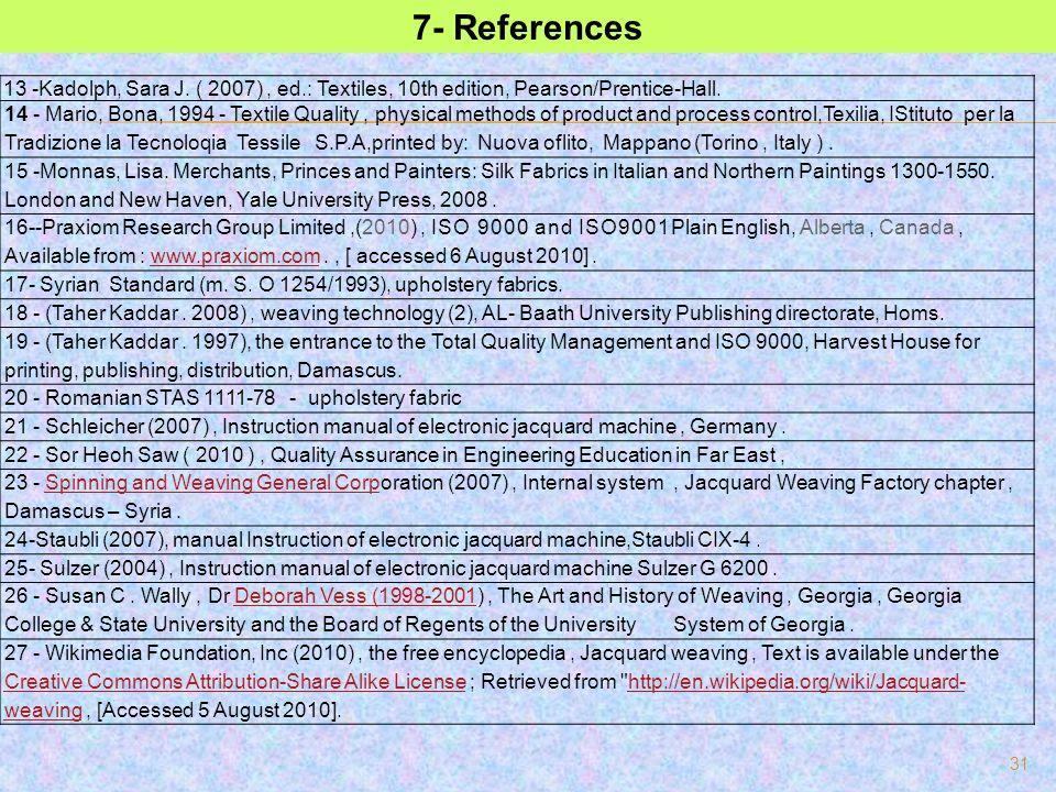 31 7- References 13 -Kadolph, Sara J. ( 2007), ed.: Textiles, 10th edition, Pearson/Prentice-Hall. 14 - Mario, Bona, 1994 - Textile Quality, physical