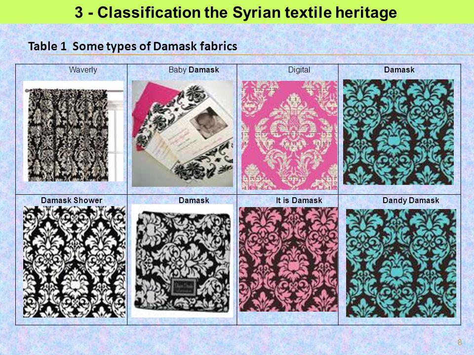 8 3 - Classification the Syrian textile heritage DamaskDigitalBaby DamaskWaverly Dandy DamaskIt is DamaskDamaskDamask Shower Table 1 Some types of Dam