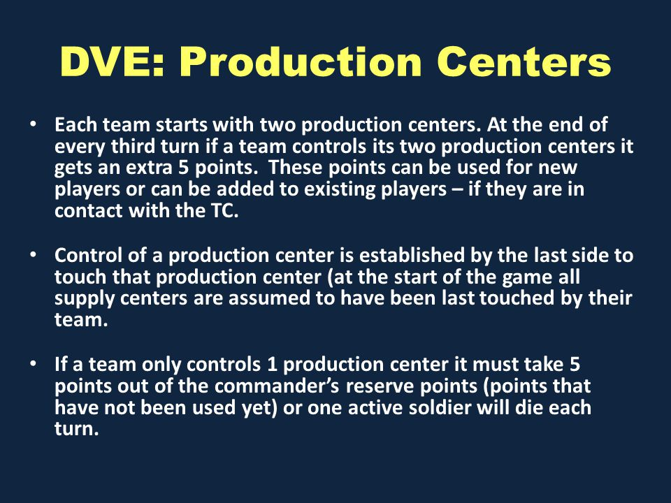 DVE: Production Centers Each team starts with two production centers.