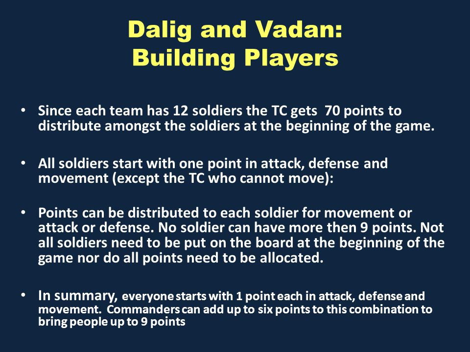 Dalig and Vadan: Building Players Since each team has 12 soldiers the TC gets 70 points to distribute amongst the soldiers at the beginning of the game.