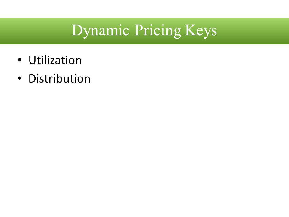 Dynamic Pricing Keys Utilization Distribution