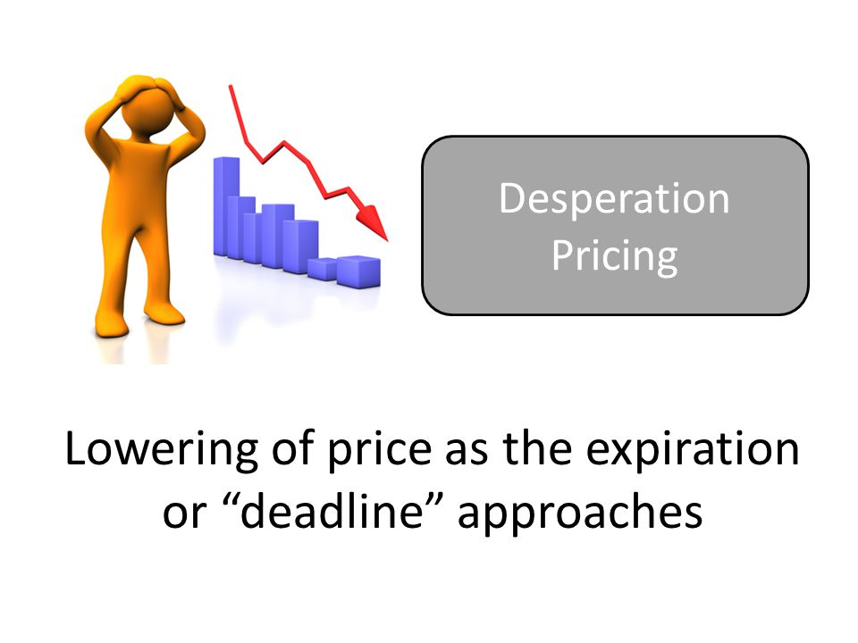 Lowering of price as the expiration or deadline approaches Desperation Pricing