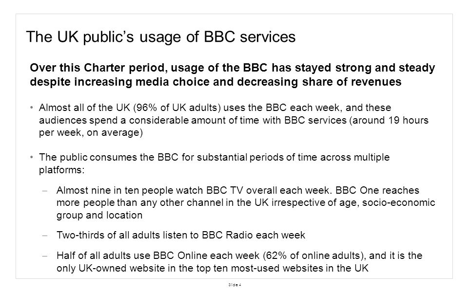 The BBC makes a key contribution to the wider news market Slide 15 Kantar Media for Ofcom, 2,628 users of news nowadays, News consumption in the UK: research report, published Sep 2013 1 provider only – BBC 1 other provider only 2 providers 3 providers 4 or more providers However, around one in ten news consumers get news only from the BBC as most choose to use more than one provider* *provider = wholesale provider – classified as the company that provides the news for the given source (hence if a consumer uses both Sky News and commercial radio for news, this would be classed as one provider as Sky News provides the news for both) Owing to rounding, data does not sum to 100 Ofcom data shows that people regard the BBC as their most important news provider In answering the question, respondents give the name of the one news source of greatest personal importance to them.