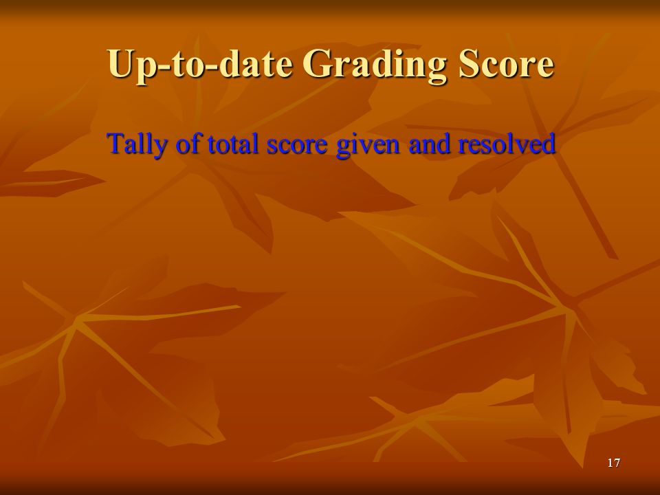 17 Up-to-date Grading Score Tally of total score given and resolved