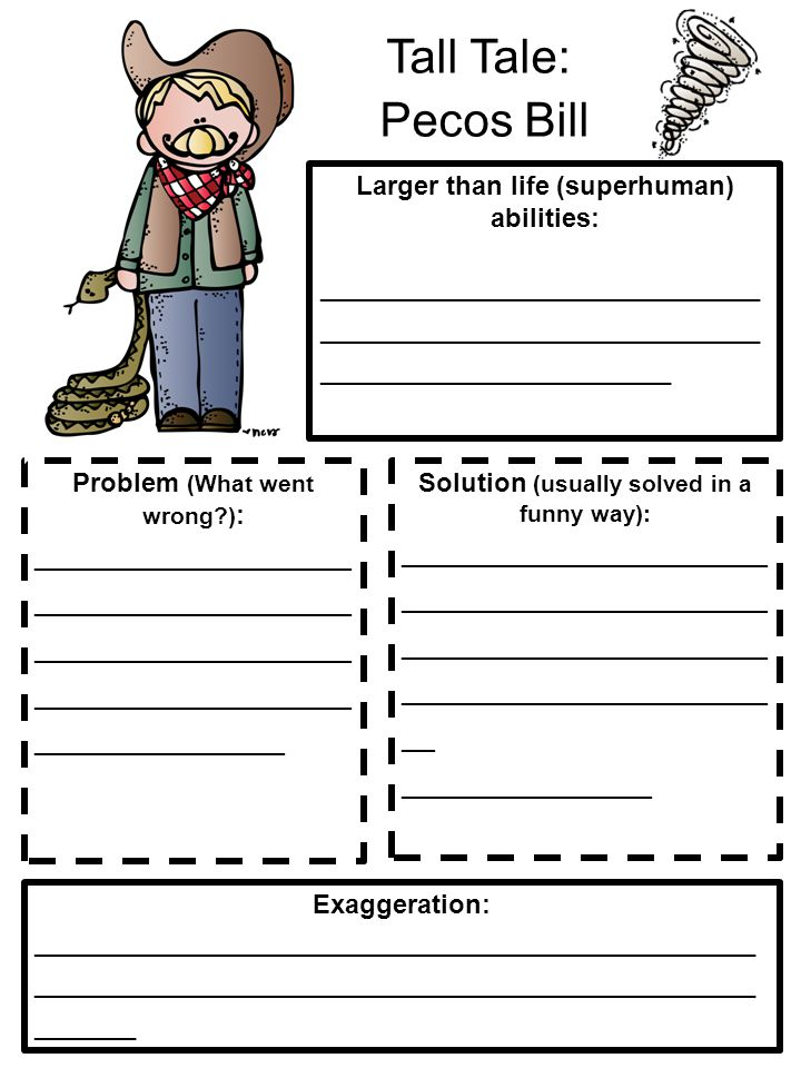 Tall Tale: Pecos Bill Larger than life (superhuman) abilities: ______________________________ ______________________________ ________________________