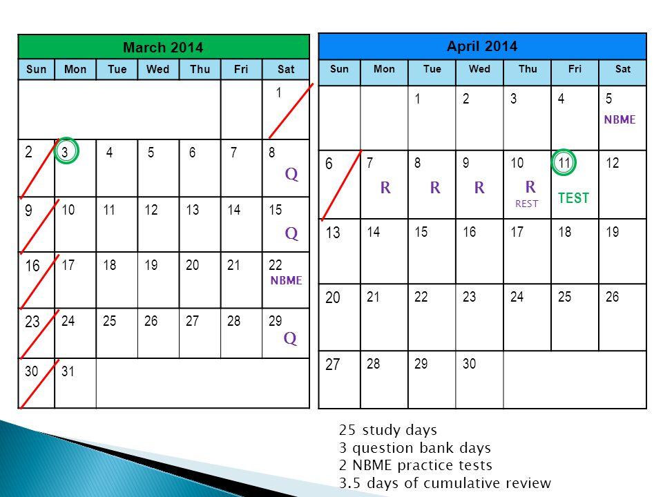 March 2014 SunMonTueWedThuFriSat 1 2 3 4 5 6 78 9 101112131415 16 171819202122 23 242526272829 3031 April 2014 SunMonTueWedThuFriSat 12345 6 7891011 TEST 12 13 141516171819 20 212223242526 27 282930 25 study days 3 question bank days 2 NBME practice tests 3.5 days of cumulative review Q Q Q RRR R REST NBME
