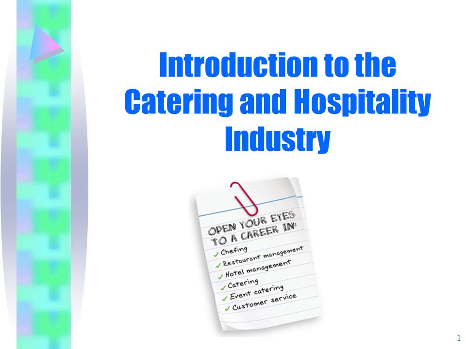 Types of Catering establishments Commercial Hotels Restaurants Cafes & Delis Bars & Pubs Fast Food Outlets Outside Catering Industrial Contract Catering Armed Forces In-flight Catering Health & Welfare Canteen workforce Educational 2