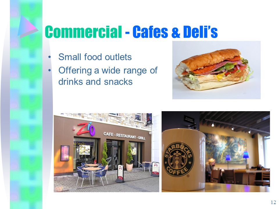 Commercial - Cafes & Delis Small food outlets Offering a wide range of drinks and snacks 12