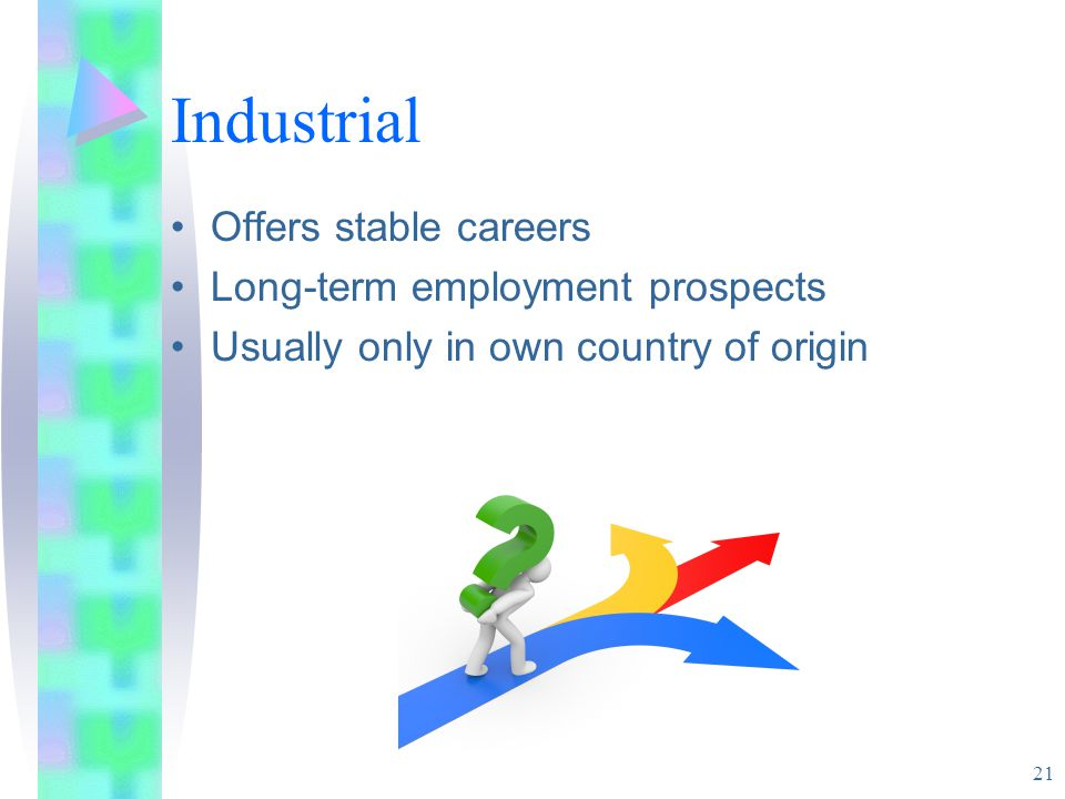 Industrial 21 Offers stable careers Long-term employment prospects Usually only in own country of origin