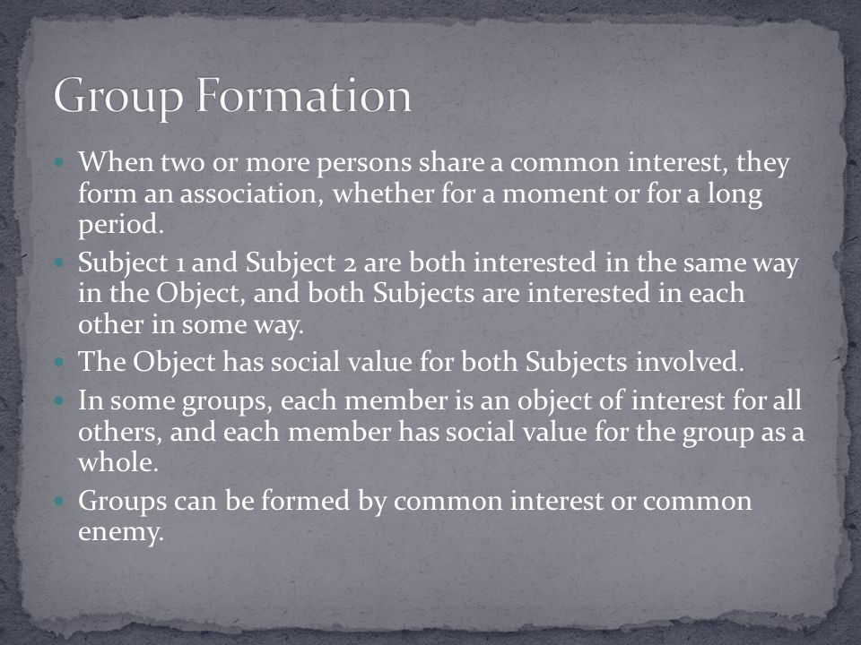 When two or more persons share a common interest, they form an association, whether for a moment or for a long period. Subject 1 and Subject 2 are bot