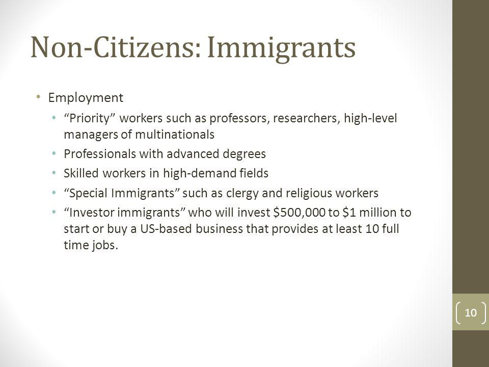 Non-Citizens: Immigrants Employment Priority workers such as professors, researchers, high-level managers of multinationals Professionals with advance