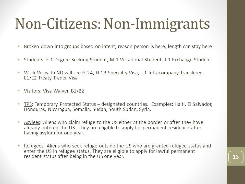 Non-Citizens: Non-Immigrants Broken down into groups based on intent, reason person is here, length can stay here Students: F-1 Degree Seeking Student, M-1 Vocational Student, J-1 Exchange Student Work Visas: In ND will see H-2A, H-1B Specialty Visa, L-1 Intracompany Transferee, E1/E2 Treaty Trader Visa Visitors: Visa Waiver, B1/B2 TPS: Temporary Protected Status – designated countries.