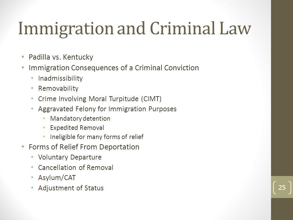 Immigration and Criminal Law Padilla vs. Kentucky Immigration Consequences of a Criminal Conviction Inadmissibility Removability Crime Involving Moral