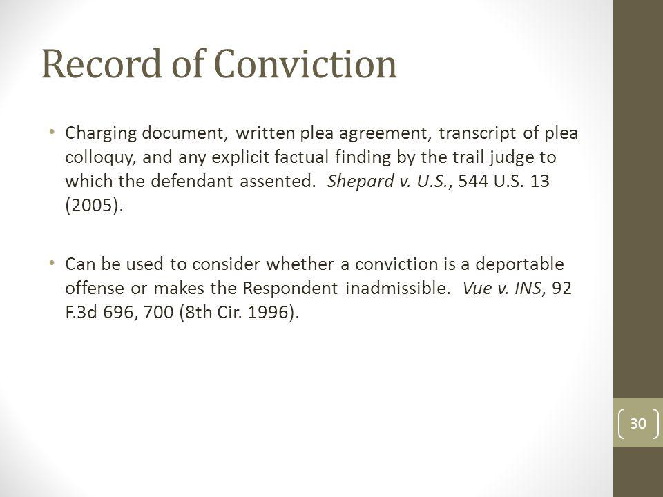 Record of Conviction Charging document, written plea agreement, transcript of plea colloquy, and any explicit factual finding by the trail judge to which the defendant assented.