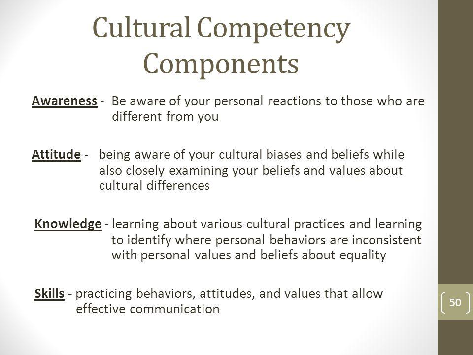 Cultural Competency Components Awareness - Be aware of your personal reactions to those who are different from you Attitude - being aware of your cult
