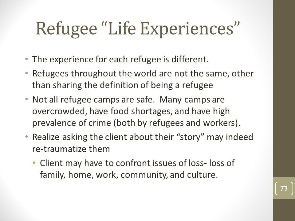 Refugee Life Experiences The experience for each refugee is different.