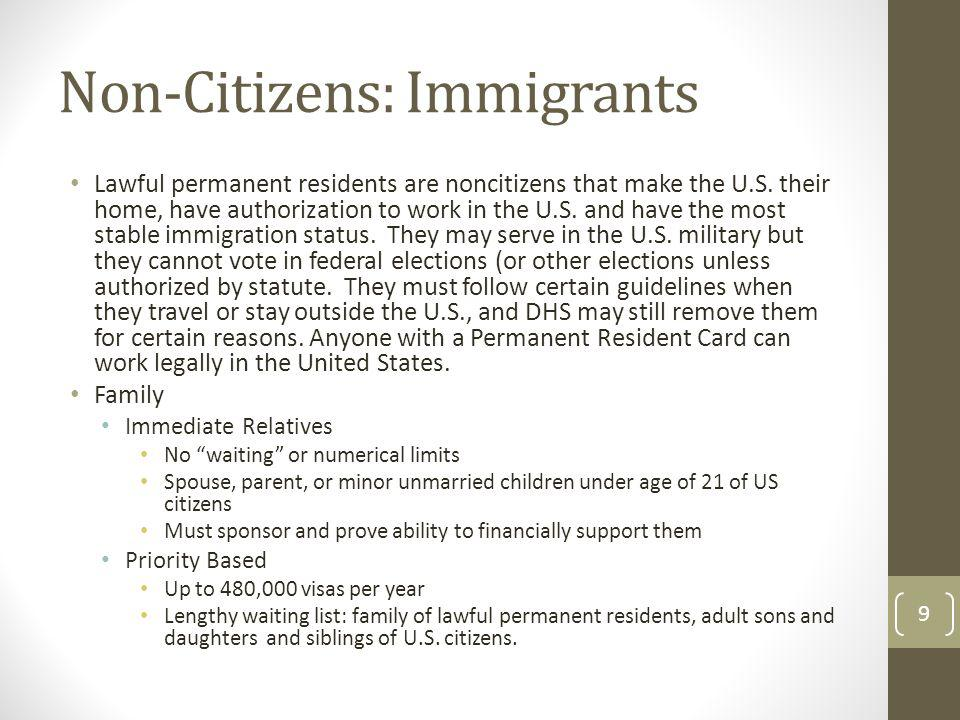 Non-Citizens: Immigrants Lawful permanent residents are noncitizens that make the U.S. their home, have authorization to work in the U.S. and have the