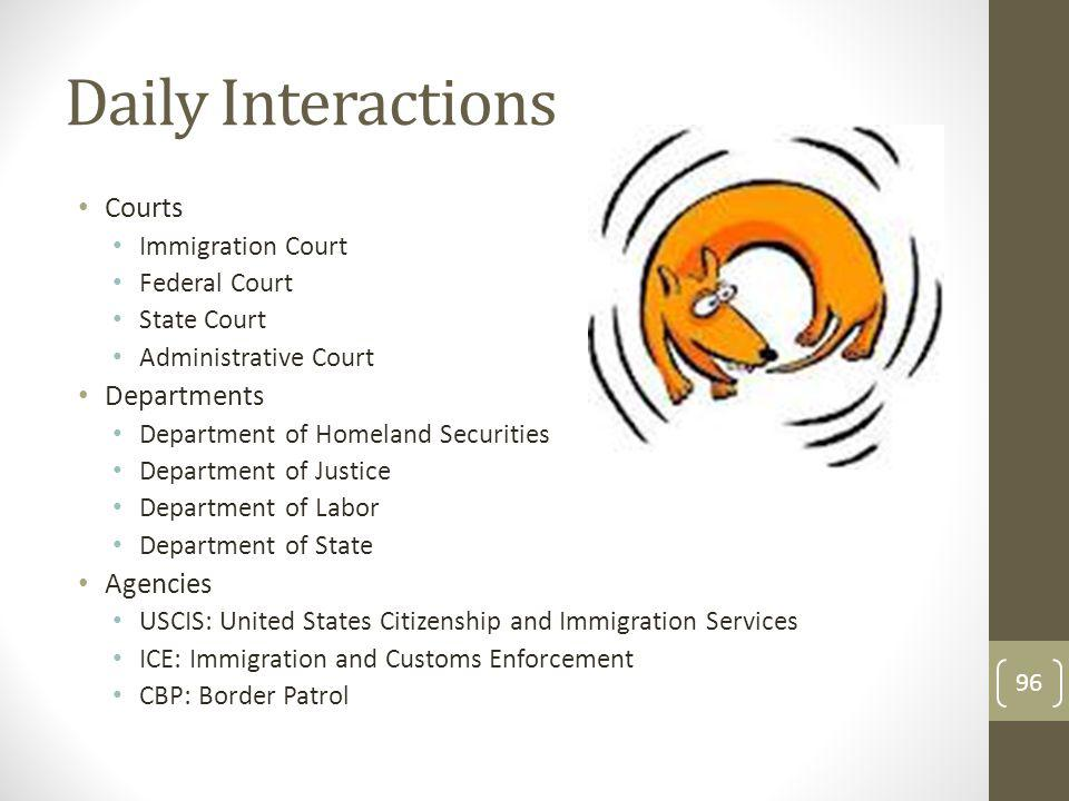 Daily Interactions Courts Immigration Court Federal Court State Court Administrative Court Departments Department of Homeland Securities Department of Justice Department of Labor Department of State Agencies USCIS: United States Citizenship and Immigration Services ICE: Immigration and Customs Enforcement CBP: Border Patrol 96