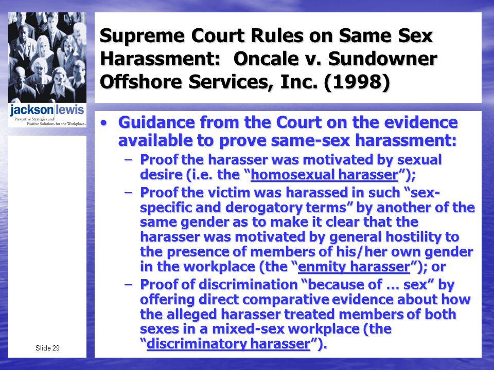 Slide 29 Supreme Court Rules on Same Sex Harassment: Oncale v.
