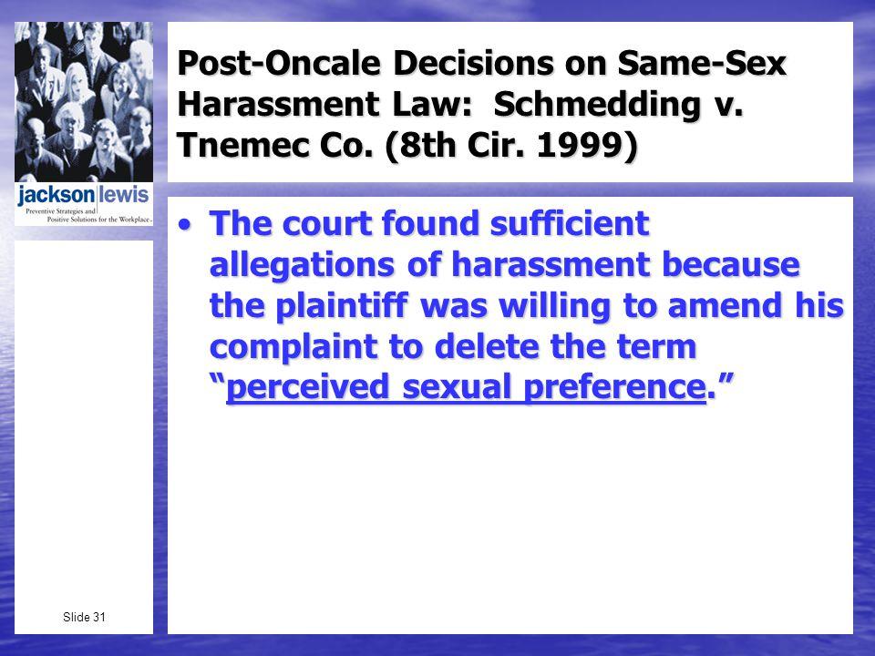 Slide 31 Post-Oncale Decisions on Same-Sex Harassment Law: Schmedding v.