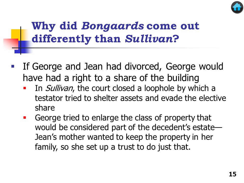 Why did Bongaards come out differently than Sullivan ? If George and Jean had divorced, George would have had a right to a share of the building In Su