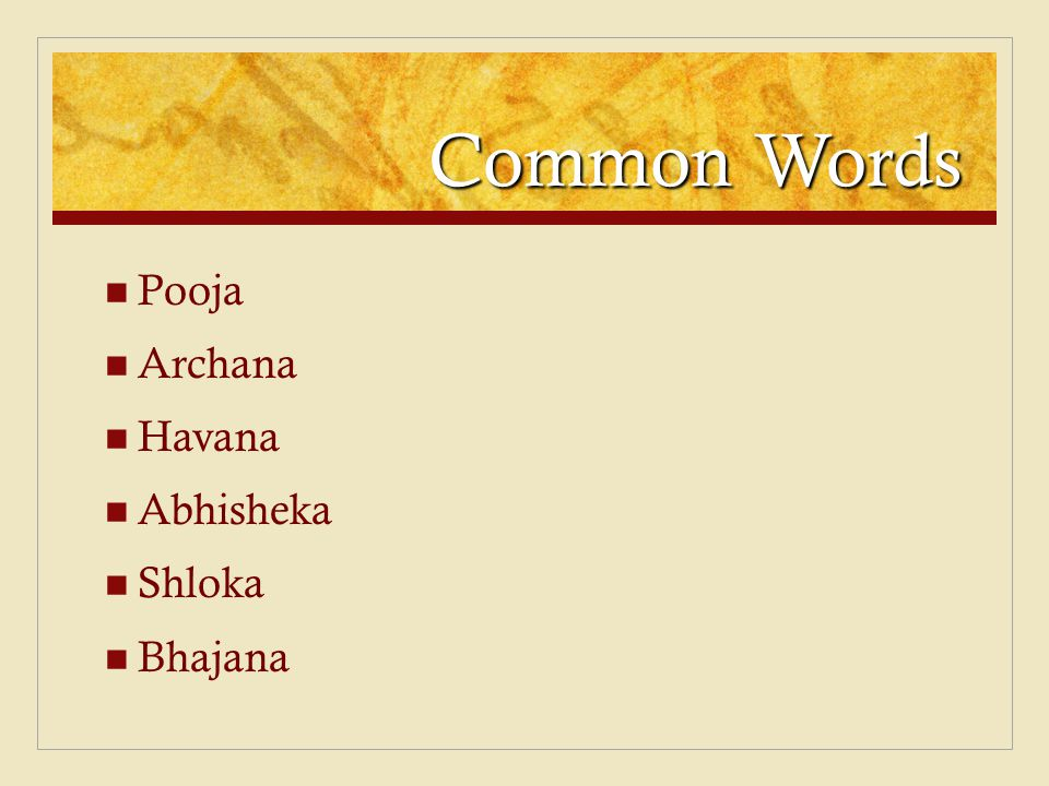 Common Words Pooja Archana Havana Abhisheka Shloka Bhajana