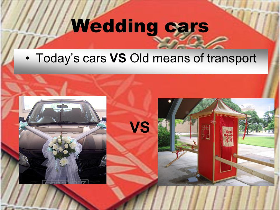 Wedding cars Todays cars VS Old means of transport VS