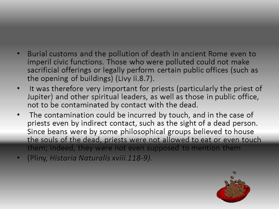 Burial customs and the pollution of death in ancient Rome even to imperil civic functions.