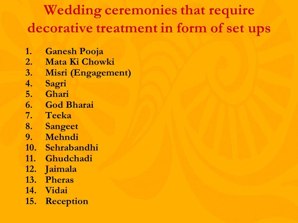 Wedding ceremonies that require decorative treatment in form of set ups 1.Ganesh Pooja 2.Mata Ki Chowki 3.Misri (Engagement) 4.Sagri 5.Ghari 6.God Bharai 7.Teeka 8.Sangeet 9.Mehndi 10.Sehrabandhi 11.Ghudchadi 12.Jaimala 13.Pheras 14.Vidai 15.Reception