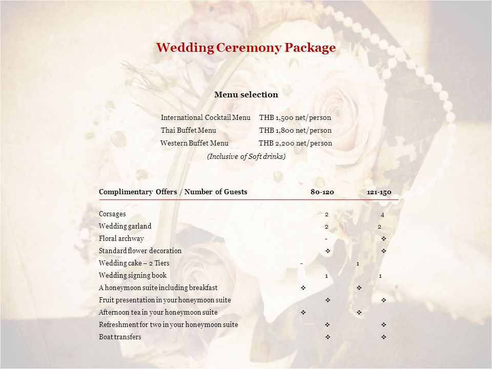 Wedding Ceremony Package Menu selection International Cocktail Menu THB 1,500 net/person Thai Buffet Menu THB 1,800 net/person Western Buffet Menu THB 2,200 net/person (Inclusive of Soft drinks) Complimentary Offers / Number of Guests 80-120 121-150 Corsages 2 4 Wedding garland 2 2 Floral archway - Standard flower decoration Wedding cake – 2 Tiers - 1 Wedding signing book 1 1 A honeymoon suite including breakfast Fruit presentation in your honeymoon suite Afternoon tea in your honeymoon suite Refreshment for two in your honeymoon suite Boat transfers