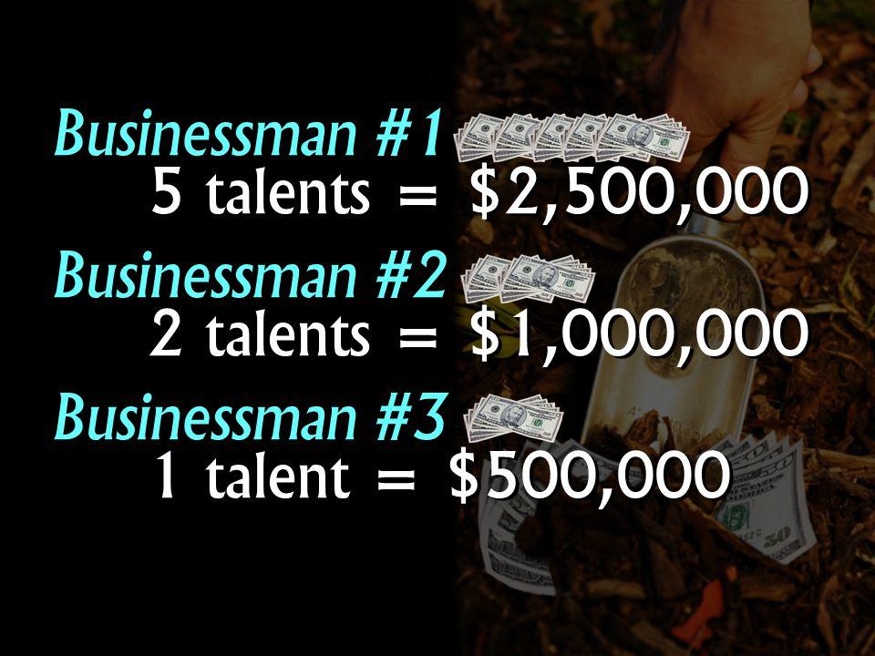 Businessman #1 5 talents = $2,500,000 Businessman #2 2 talents = $1,000,000 Businessman #3 1 talent = $500,000 Businessman #1 5 talents = $2,500,000 Businessman #2 2 talents = $1,000,000 Businessman #3 1 talent = $500,000